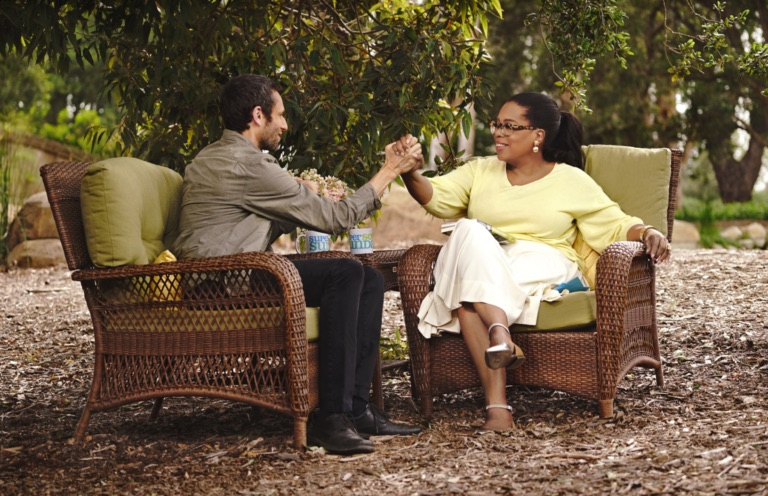 Charles Eisenstein with Oprah Winfrey  Credit: OWN